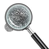 Magnifying glass. Illustration of a magnifying glass over a fingerprint Stock Image