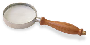 Magnifying glass. A magnifying glass with wooden handle, isolated on white Stock Photo