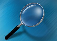 Magnifying glass. Illustration of a magnifying glass over a blue background Stock Photos