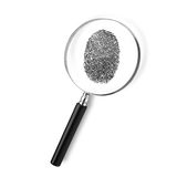 Magnifying Glass. Isolated Magnifying Glass with Fingerprint Royalty Free Stock Images