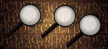 Magnifying glass with abstract text. 2D art Stock Photos