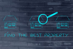 Magnifying glass analyzing a group of houses, find the best prop Stock Photography