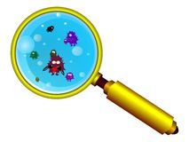 Magnifying Glass And Funny Germs Royalty Free Stock Photos