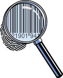 Magnifying glass barcode. A magnifying glass has zoomed in on a fingerprint to reveal a barcode, resembling dna Royalty Free Stock Photos