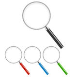Magnifying Glass Big Set. Isolated On White Background. Vector Illustration Royalty Free Stock Photo