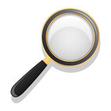 Magnifying glass. black and gold. Isolated object. White background. Vector. Illustration Royalty Free Stock Photo