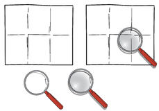 Magnifying glass and blank paper Stock Photo