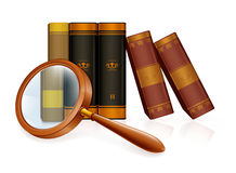 Magnifying glass and books. Computer illustration, isolated on the white Stock Image