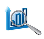 Magnifying glass with business chart Royalty Free Stock Photos