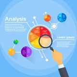 Magnifying Glass Businessman Hand Analysis Finance. Pie Diagram Circle Infographic with Financial Business Graph Vector Illustration Stock Images