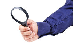 Magnifying Glass Businessman Hand Isolated  Royalty Free Stock Image