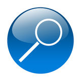 Magnifying glass button. Blue button with magnifying glass Royalty Free Stock Photography