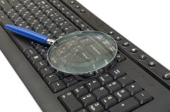 Magnifying glass, button, key Royalty Free Stock Photos