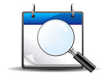 Magnifying glass calendar. Icon Stock Images