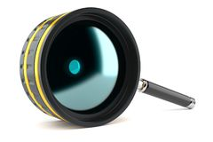Magnifying glass in camera lens shape. On white background stock illustration