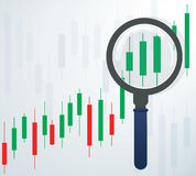 The magnifying glass and candlestick chart stock market background vector illustration. EPS 10 Stock Images