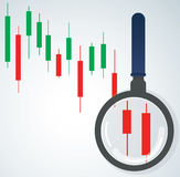 The magnifying glass and candlestick chart stock market background vector illustration. EPS 10 Stock Photo