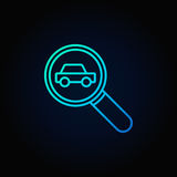 Magnifying glass with a car icon Royalty Free Stock Image