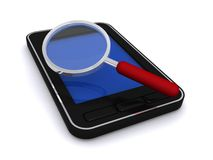 Magnifying Glass on Cell Phone Stock Images