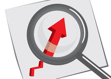 Magnifying glass with chart Royalty Free Stock Image