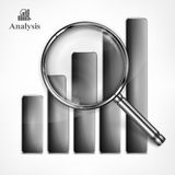 Magnifying glass and chart Royalty Free Stock Images