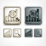 Magnifying glass and chart icons Stock Image