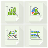 Magnifying glass and chart on white Stock Photography