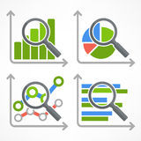 Magnifying glass and chart on white. Magnifying glass and chart, analyzing graphic on white, vector illustration Stock Images