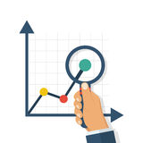 Magnifying glass charts. Magnifier in hand of a businessman. Financial statements. Study of graphs and diagrams. Vector illustration flat design. Isolated on Stock Image