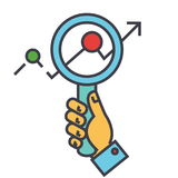 Magnifying glass charts, market research, zoom in hand, searching trends, financial statemants concept. Stock Images