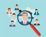 Magnifying glass for choosing the right person. On word map for international best position. recruitment and job search concept. vector illustration in flat Stock Images