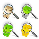 Magnifying glass & color dollar Royalty Free Stock Image