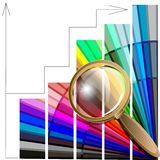 Magnifying glass and color table Stock Photos