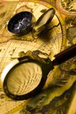 Magnifying glass & Compass Royalty Free Stock Images