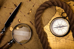 Magnifying glass & Compass, colorful bright journey theme Royalty Free Stock Images