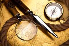 Magnifying glass & Compass, colorful bright journey theme Stock Photos