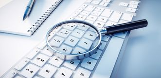 Magnifying glass on a computer keyboard stock illustration