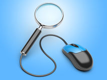 Magnifying glass connected to a computer mouse Stock Images