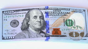 Magnifying glass on corner view on a 100 dollar new bills stock video footage
