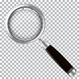 Magnifying glass with dark handle. Isolated on transparent background vector illustration Royalty Free Stock Image