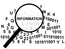 Magnifying glass for Data Mining. Over a pile of binary and text information Stock Photography
