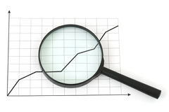 Magnifying glass and diagram Stock Photos