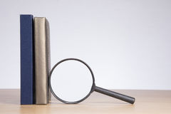 Magnifying glass with diary and journal Royalty Free Stock Photo