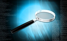 Magnifying glass. Digital illustration of Magnifying glass in colour background royalty free stock photos