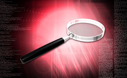 Magnifying glass. Digital illustration of Magnifying glass in colour background stock image