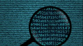 Magnifying glass discovers word espionage on computer screen. Security related search conceptual animation stock video footage