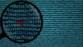 Loupe discovers word spam on computer screen. Security related search conceptual 3D rendering Royalty Free Stock Photo