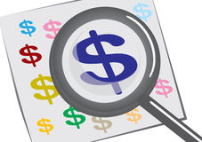 Magnifying glass with a dollar sign Stock Image