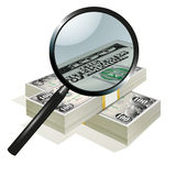 Magnifying glass and dollars Royalty Free Stock Photo