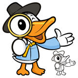 Magnifying glass duck. A duck Character Stock Image